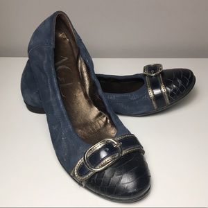 AGL 36 Classy Ballet Flats Italy Blue Suede Snake